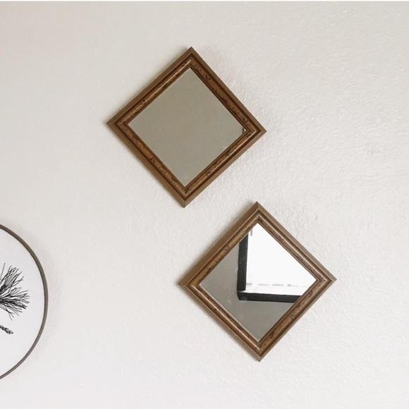 Other - Vintage Wood Mirror Set (2) Boho